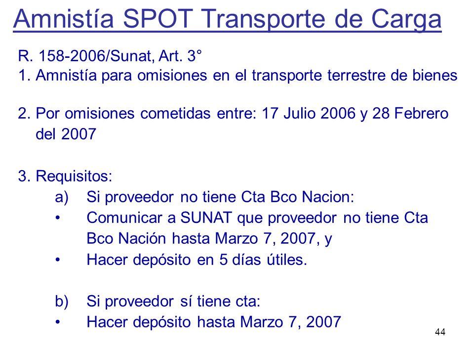 Amnistía SPOT Transporte de Carga
