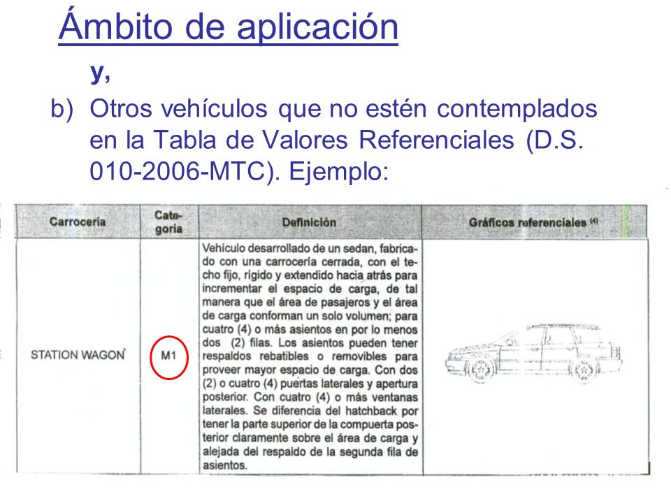 Ámbito de aplicación y, Otros vehículos que no estén contemplados en la Tabla de Valores Referenciales (D.S.