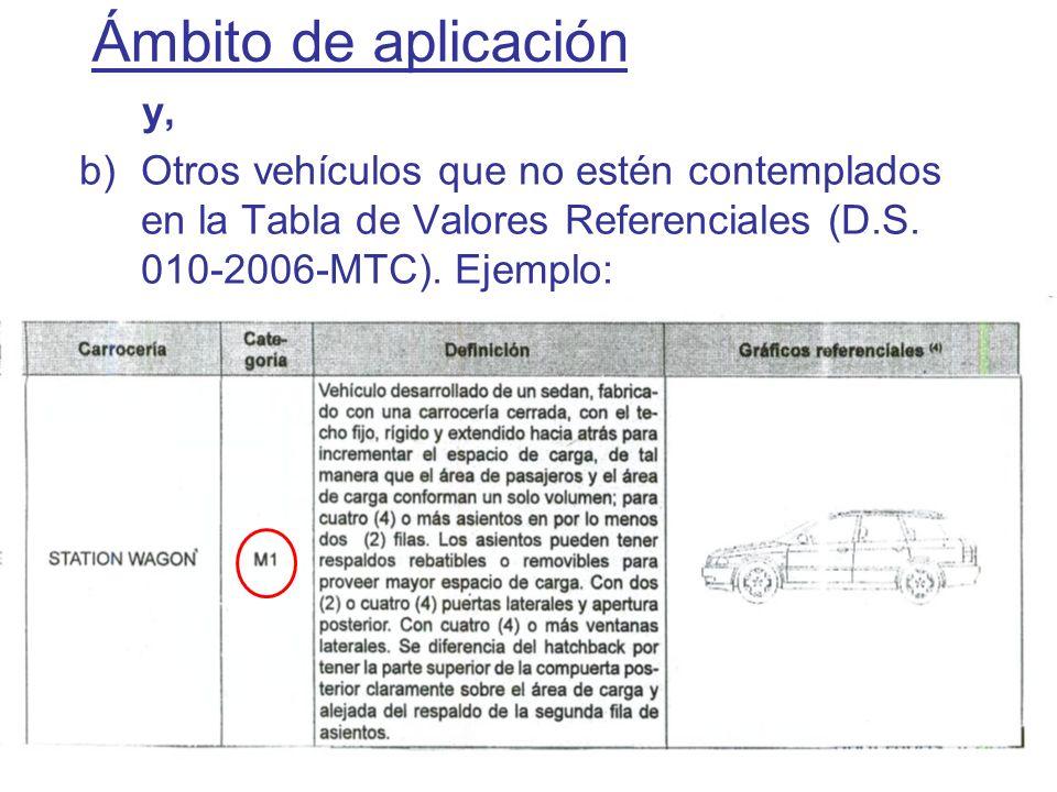 Ámbito de aplicacióny, Otros vehículos que no estén contemplados en la Tabla de Valores Referenciales (D.S.
