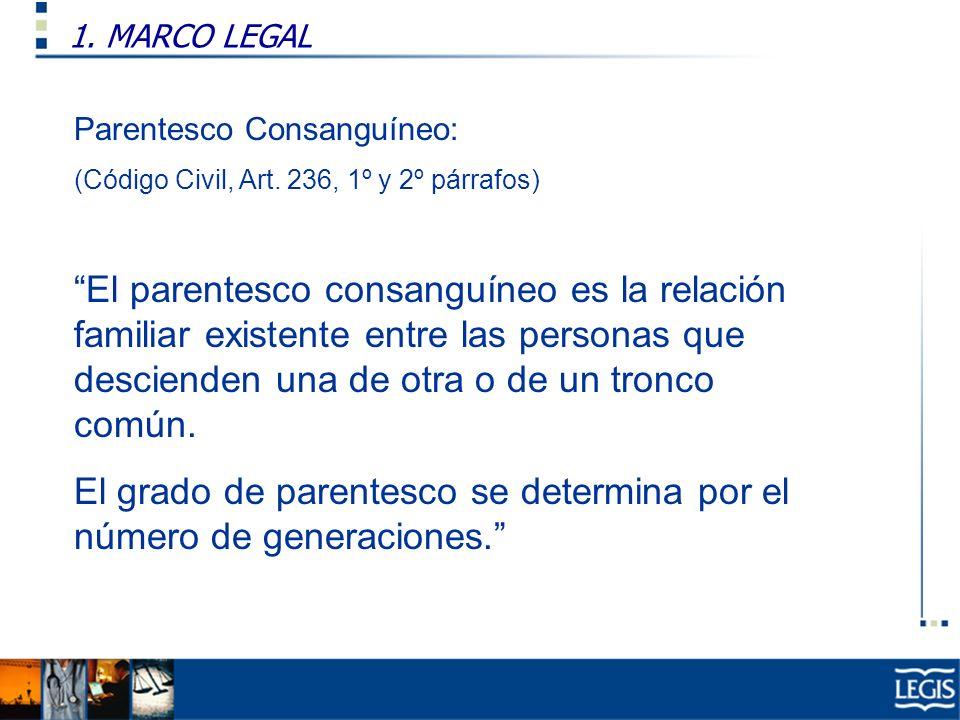 El grado de parentesco se determina por el número de generaciones.