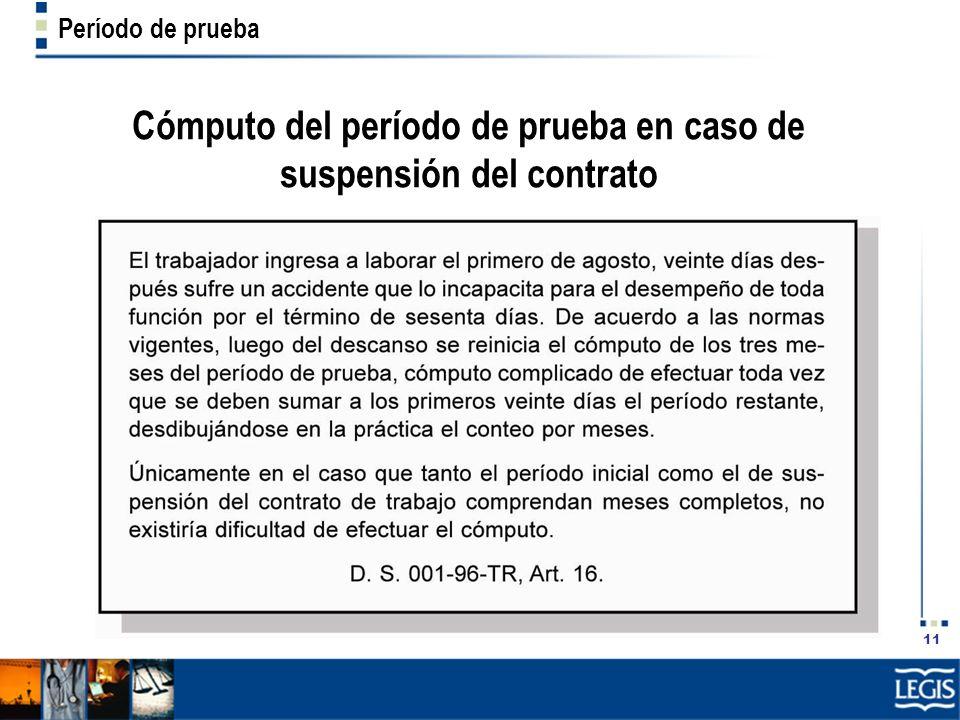 Cómputo del período de prueba en caso de suspensión del contrato