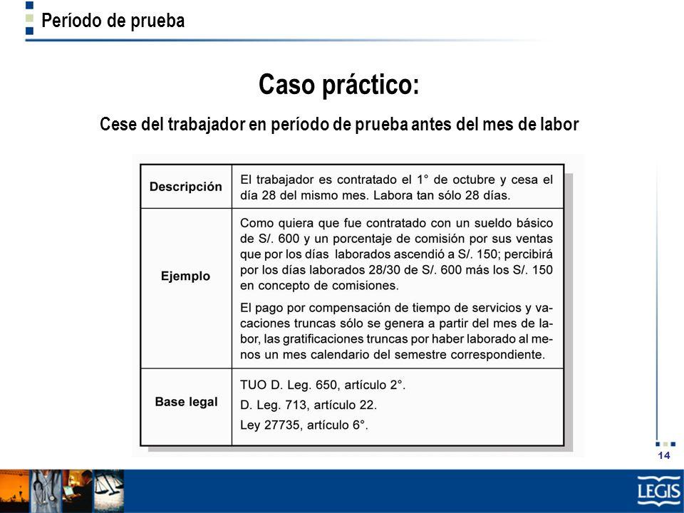 Cese del trabajador en período de prueba antes del mes de labor