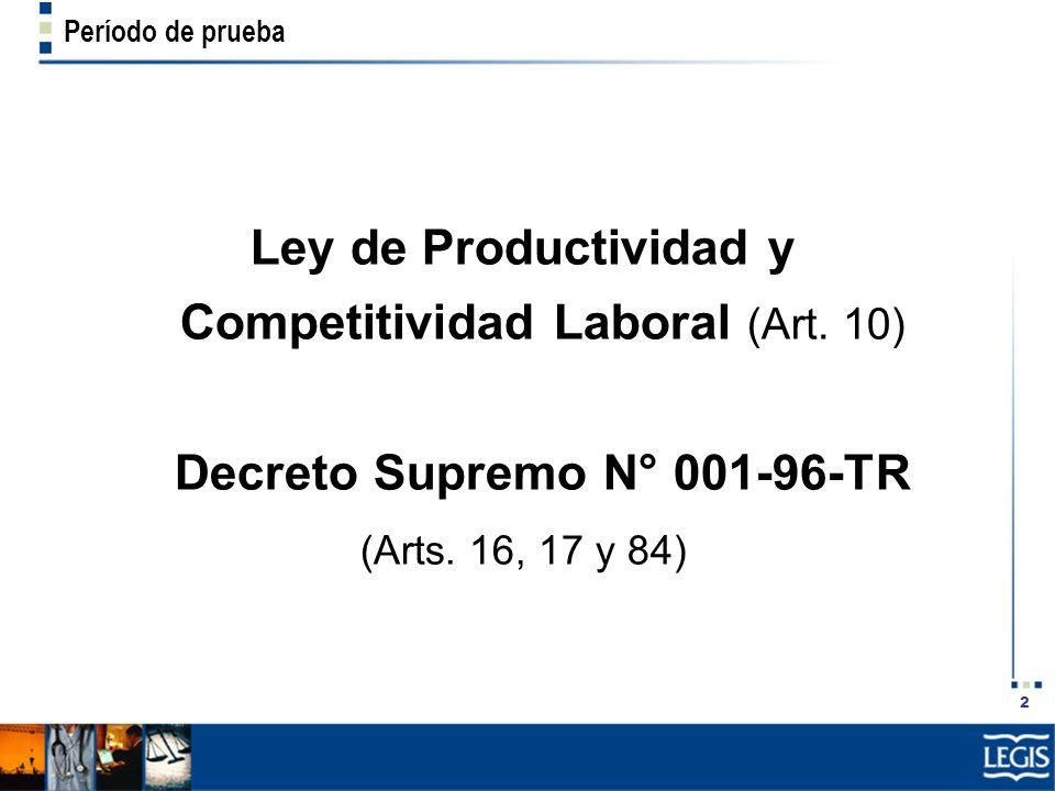 Decreto Supremo N° 001-96-TR