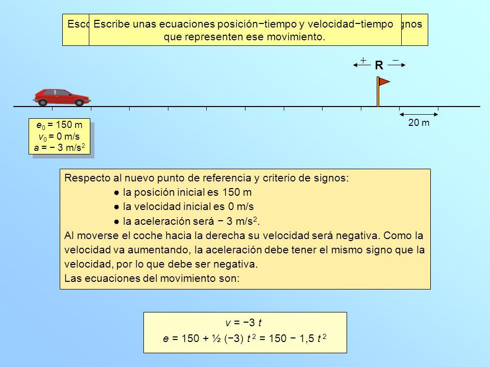 Escoge como punto de referencia el final del tramo y un criterio de signos