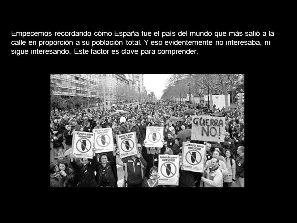 Empecemos recordando cómo España fue el país del mundo que más salió a la calle en proporción a su población total.
