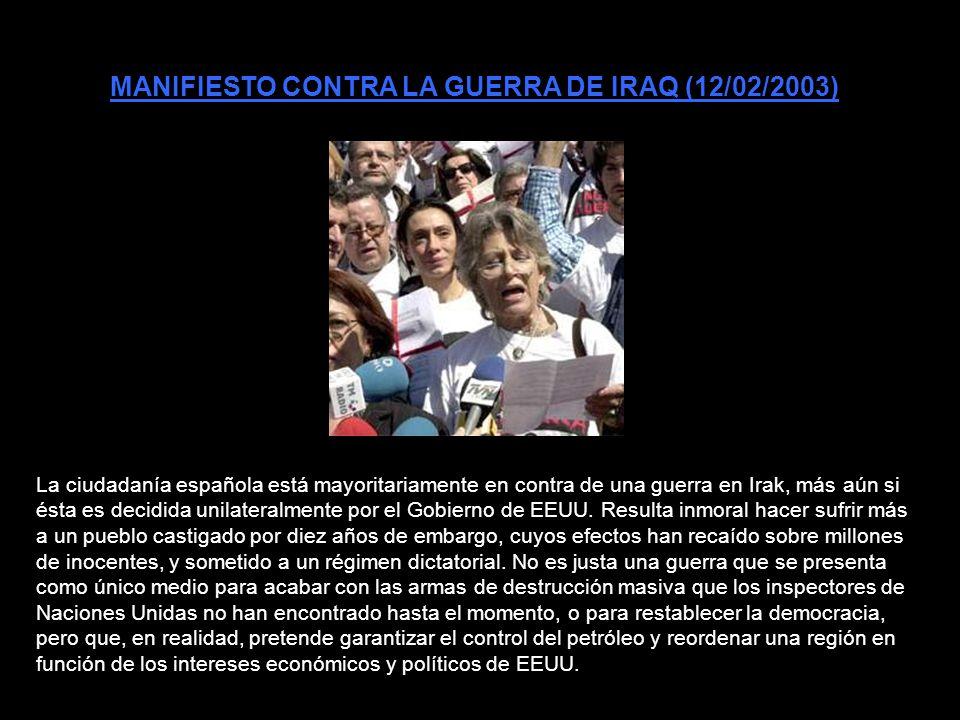 MANIFIESTO CONTRA LA GUERRA DE IRAQ (12/02/2003)