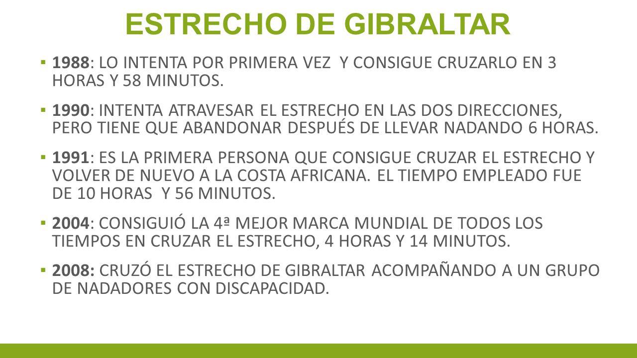 ESTRECHO DE GIBRALTAR 1988: LO INTENTA POR PRIMERA VEZ Y CONSIGUE CRUZARLO EN 3 HORAS Y 58 MINUTOS.
