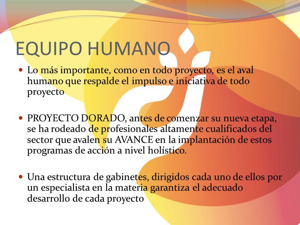 EQUIPO HUMANO Lo más importante, como en todo proyecto, es el aval humano que respalde el impulso e iniciativa de todo proyecto.