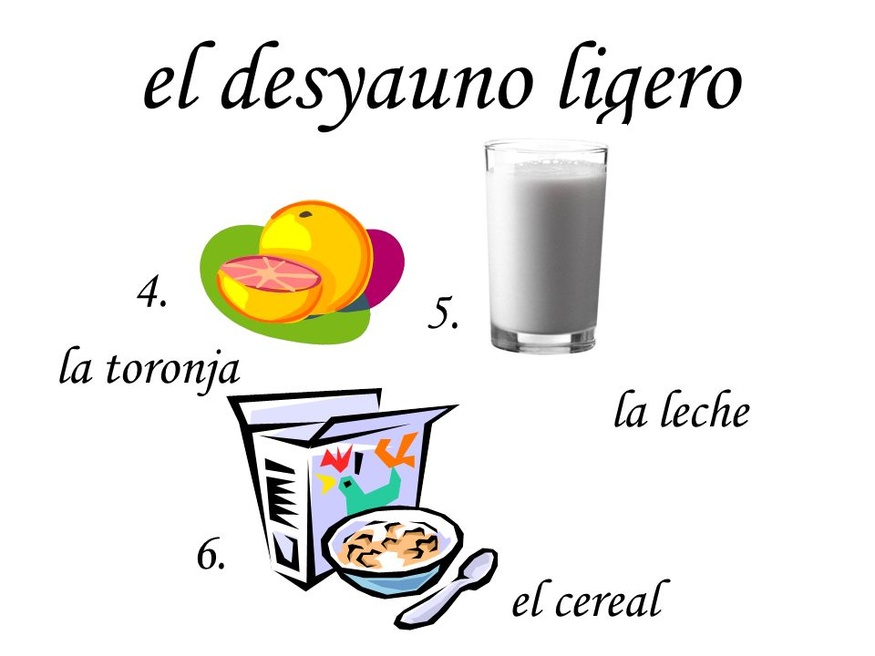el desyauno ligero 4. 5. la toronja la leche 6. el cereal