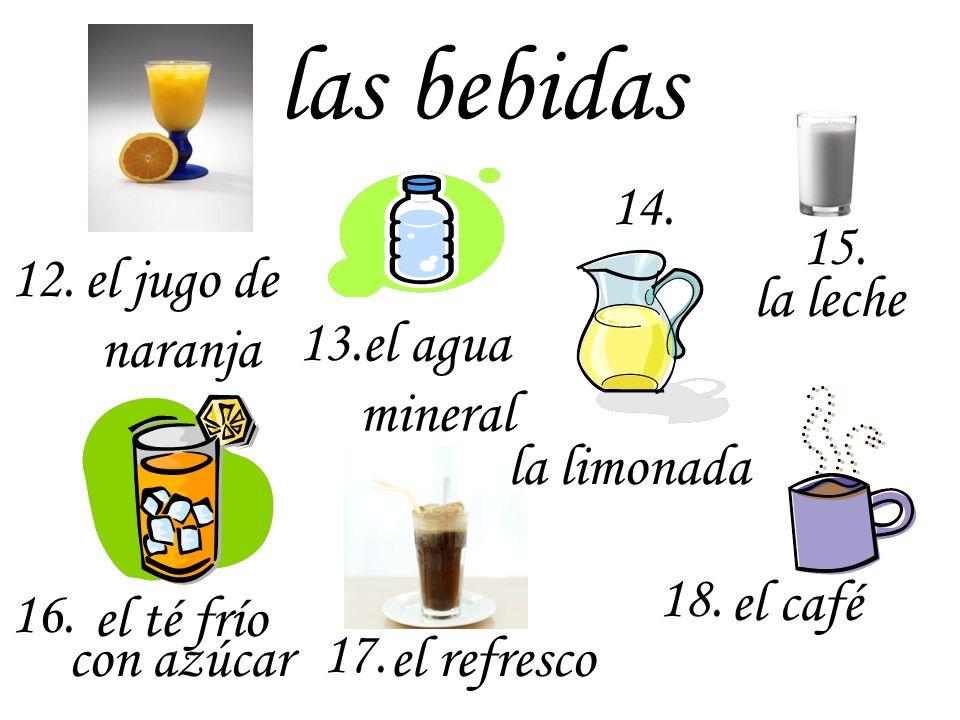 las bebidas 14. 15. 12. la leche el jugo de naranja 13.