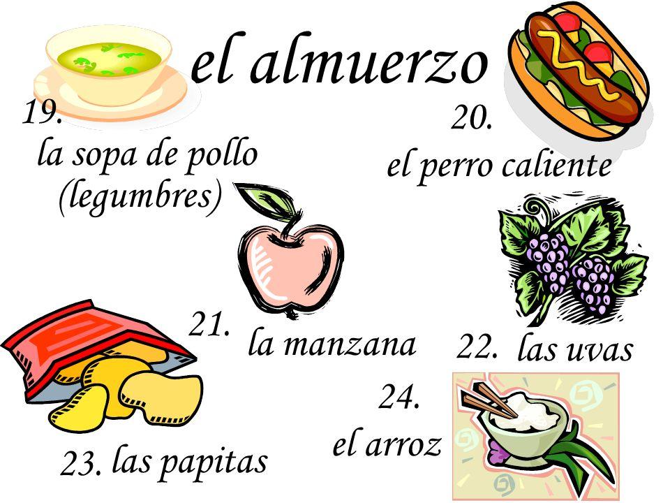 el almuerzo 19. 20. la sopa de pollo el perro caliente (legumbres) 21.
