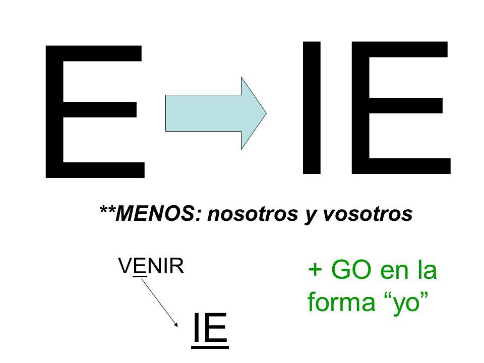 E IE **MENOS: nosotros y vosotros VENIR + GO en la forma yo IE