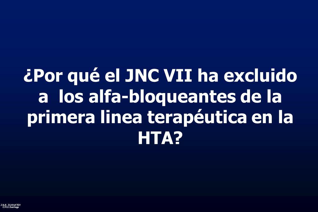 ¿Por qué el JNC VII ha excluido a los alfa-bloqueantes de la primera linea terapéutica en la HTA