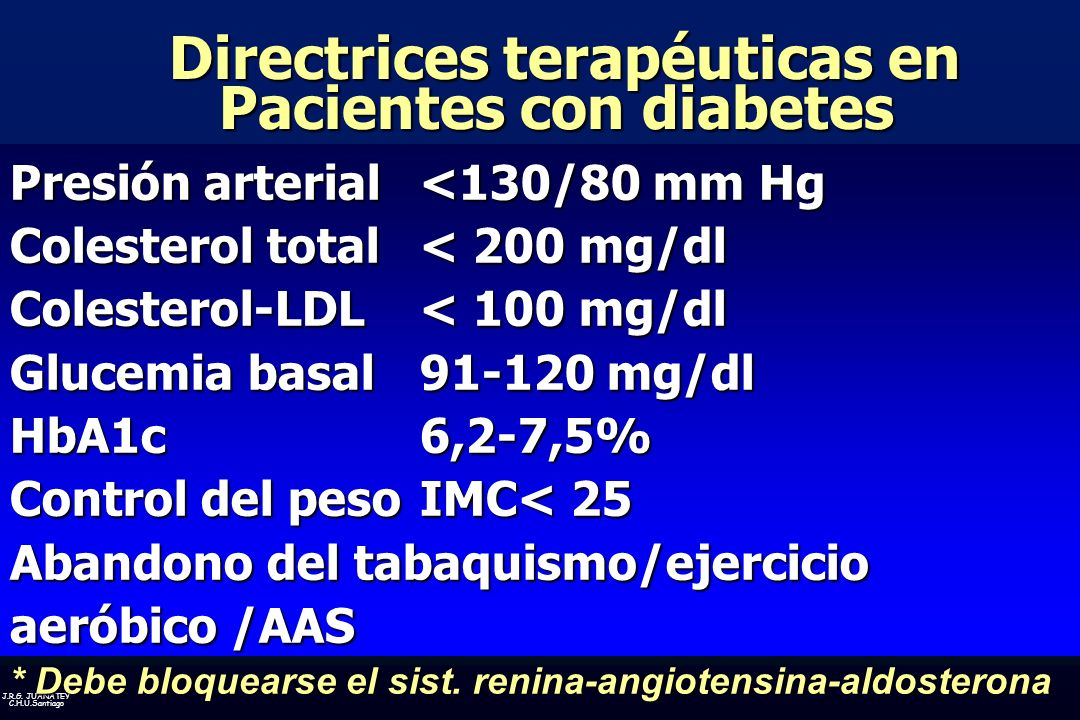 Directrices terapéuticas en Pacientes con diabetes