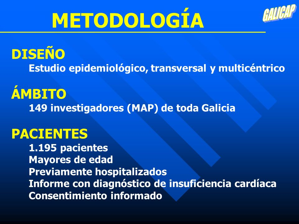 METODOLOGÍA DISEÑO ÁMBITO PACIENTES GALICAP