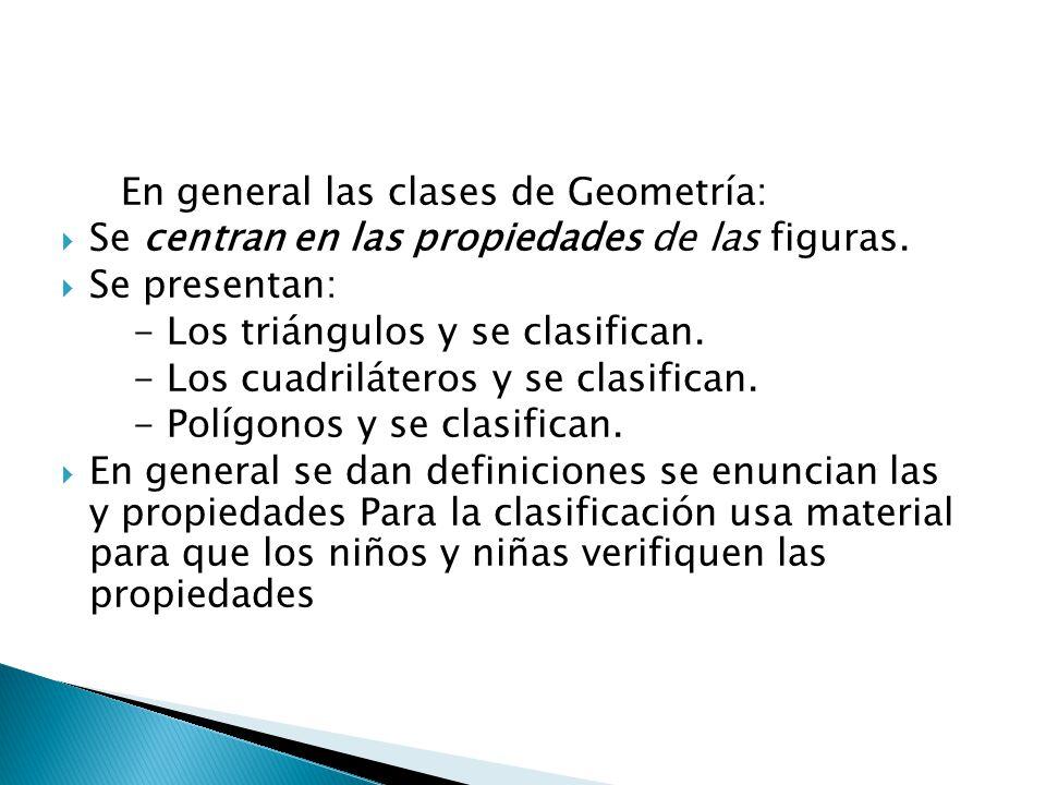 En general las clases de Geometría: