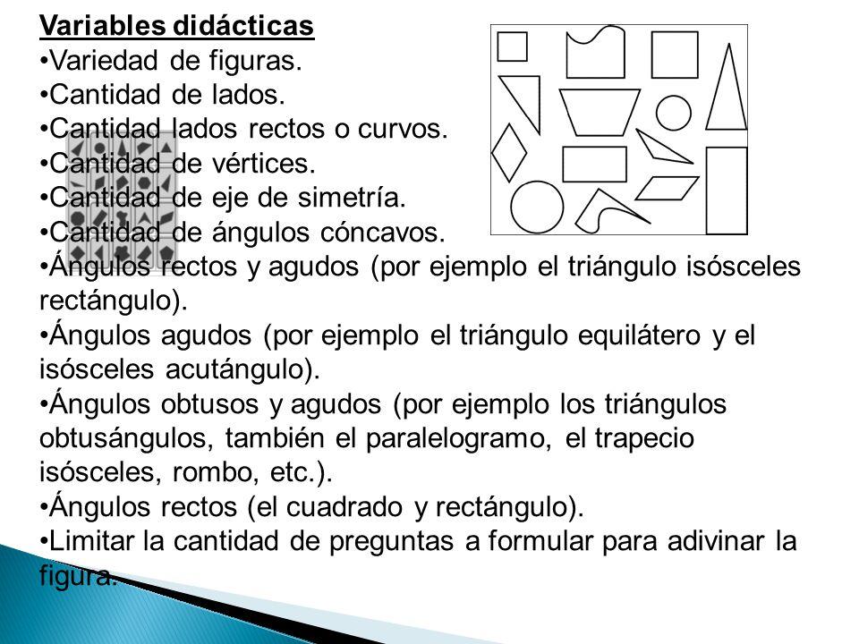 Variables didácticas Variedad de figuras. Cantidad de lados. Cantidad lados rectos o curvos. Cantidad de vértices.
