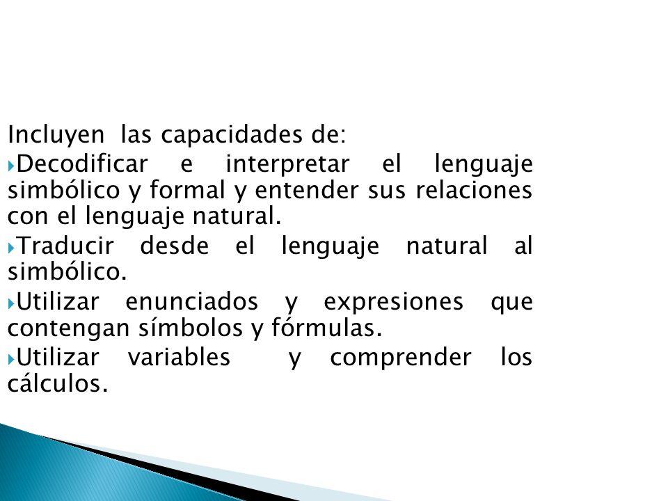 Utilizar el lenguaje simbólico, formal y técnico y las operaciones