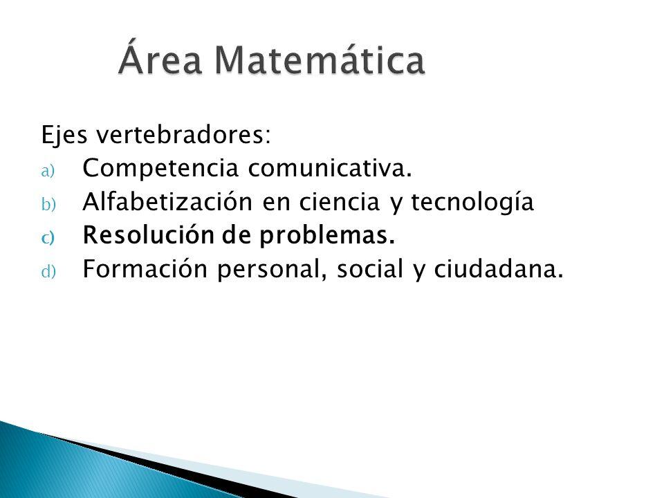 Área Matemática Ejes vertebradores: Competencia comunicativa.