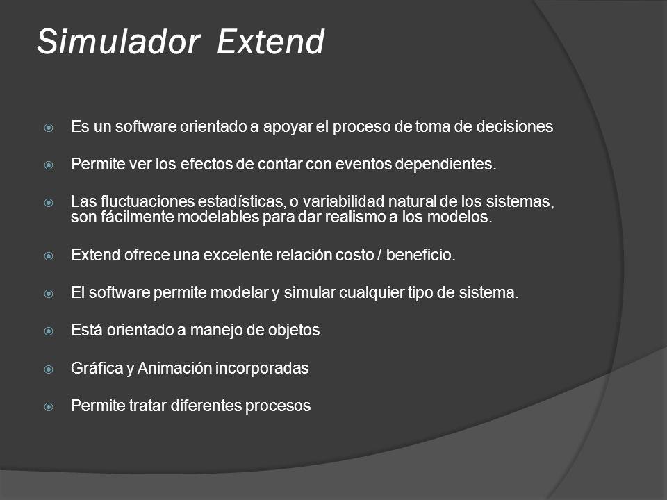 Simulador Extend Es un software orientado a apoyar el proceso de toma de decisiones. Permite ver los efectos de contar con eventos dependientes.