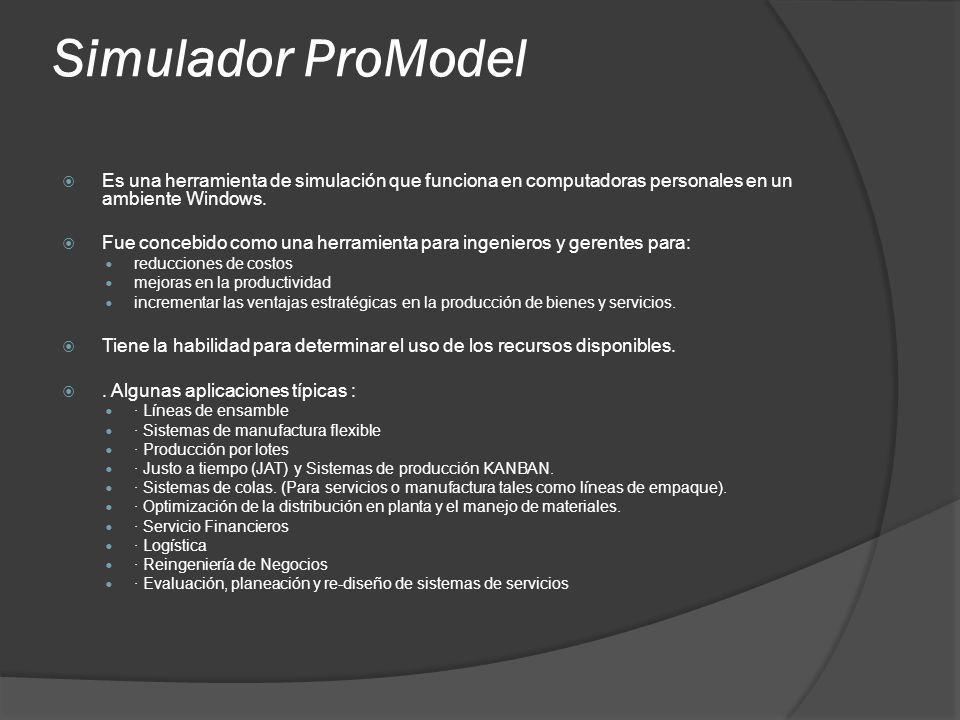 Simulador ProModel Es una herramienta de simulación que funciona en computadoras personales en un ambiente Windows.