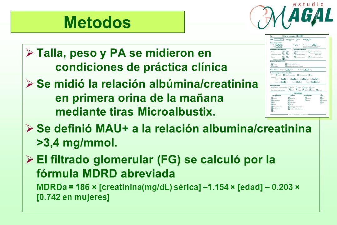 Metodos Talla, peso y PA se midieron en condiciones de práctica clínica.