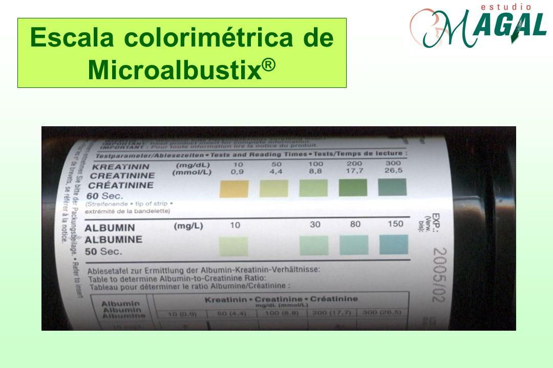 Escala colorimétrica de Microalbustix®