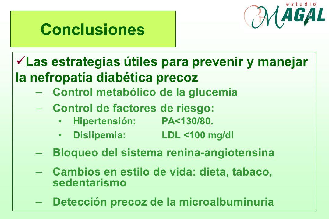 Conclusiones Las estrategias útiles para prevenir y manejar la nefropatía diabética precoz. Control metabólico de la glucemia.