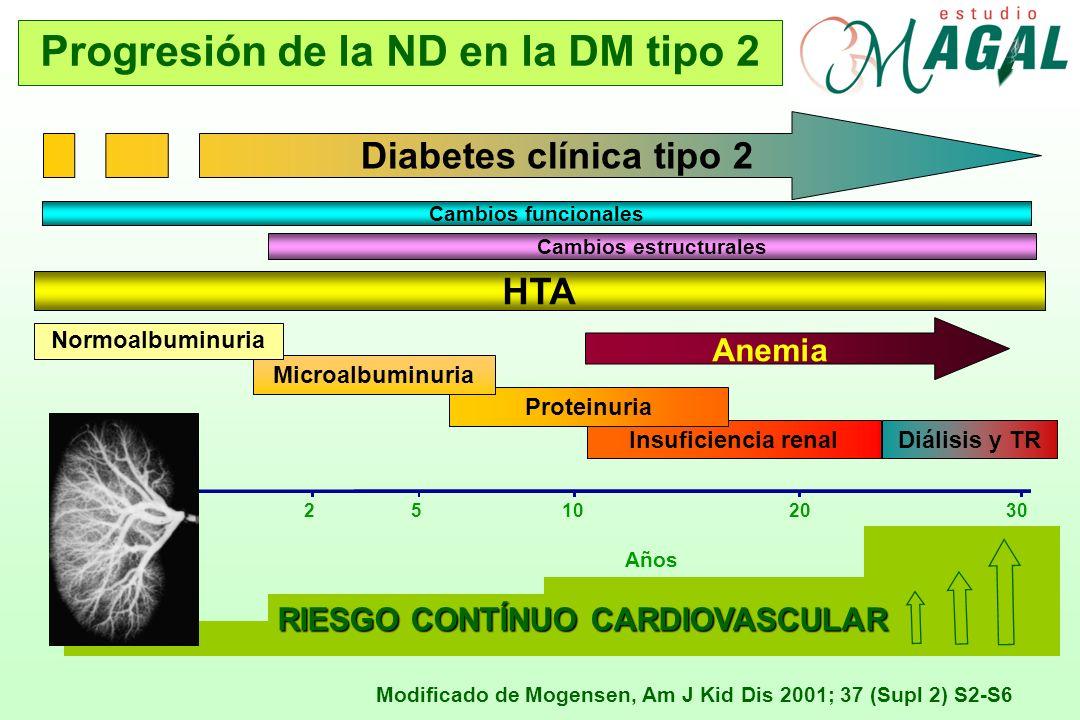 Progresión de la ND en la DM tipo 2