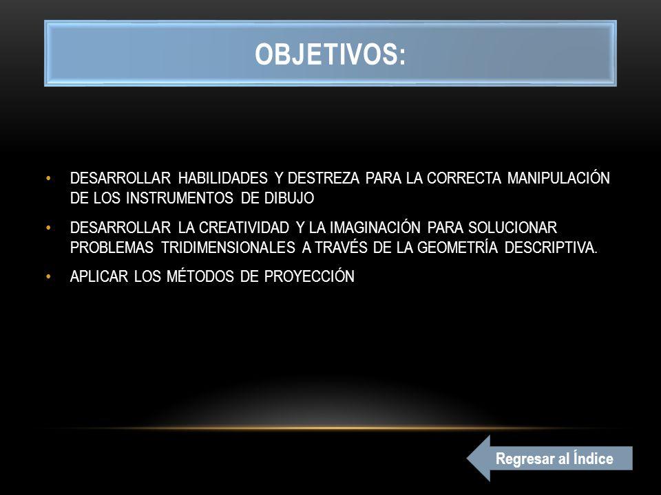 OBJETIVOS: DESARROLLAR HABILIDADES Y DESTREZA PARA LA CORRECTA MANIPULACIÓN DE LOS INSTRUMENTOS DE DIBUJO.