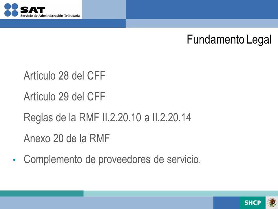 Fundamento Legal Artículo 28 del CFF Artículo 29 del CFF