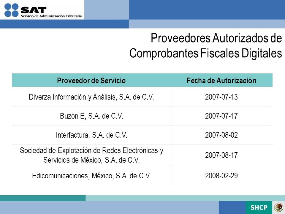 Proveedores Autorizados de Comprobantes Fiscales Digitales