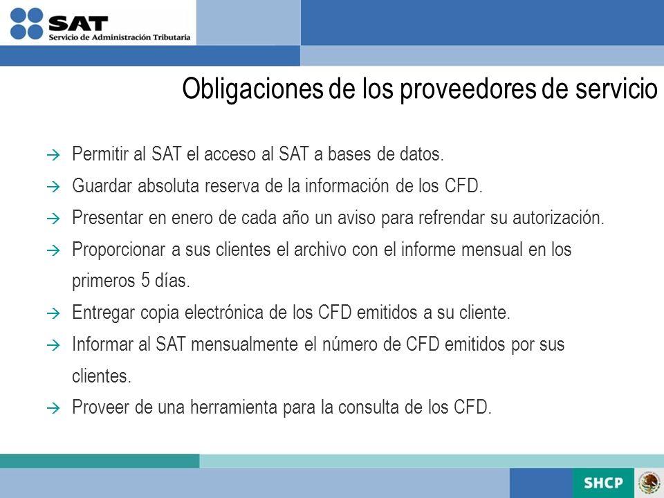 Obligaciones de los proveedores de servicio