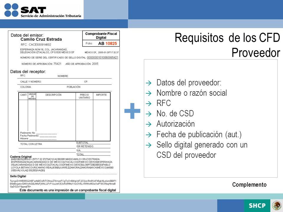 + Requisitos de los CFD Proveedor Datos del proveedor: