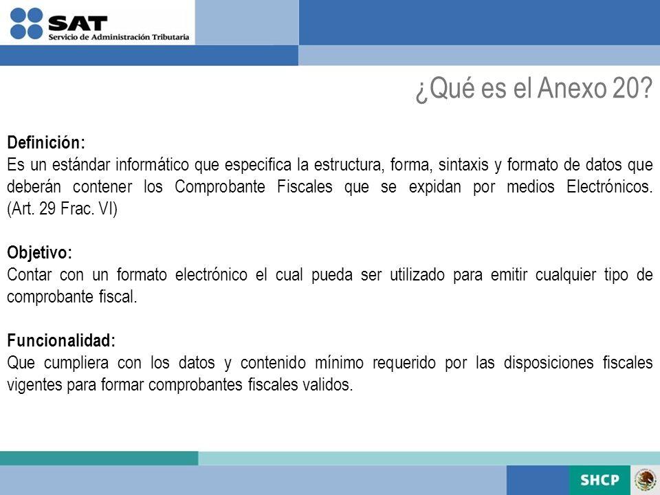 ¿Qué es el Anexo 20 Definición: