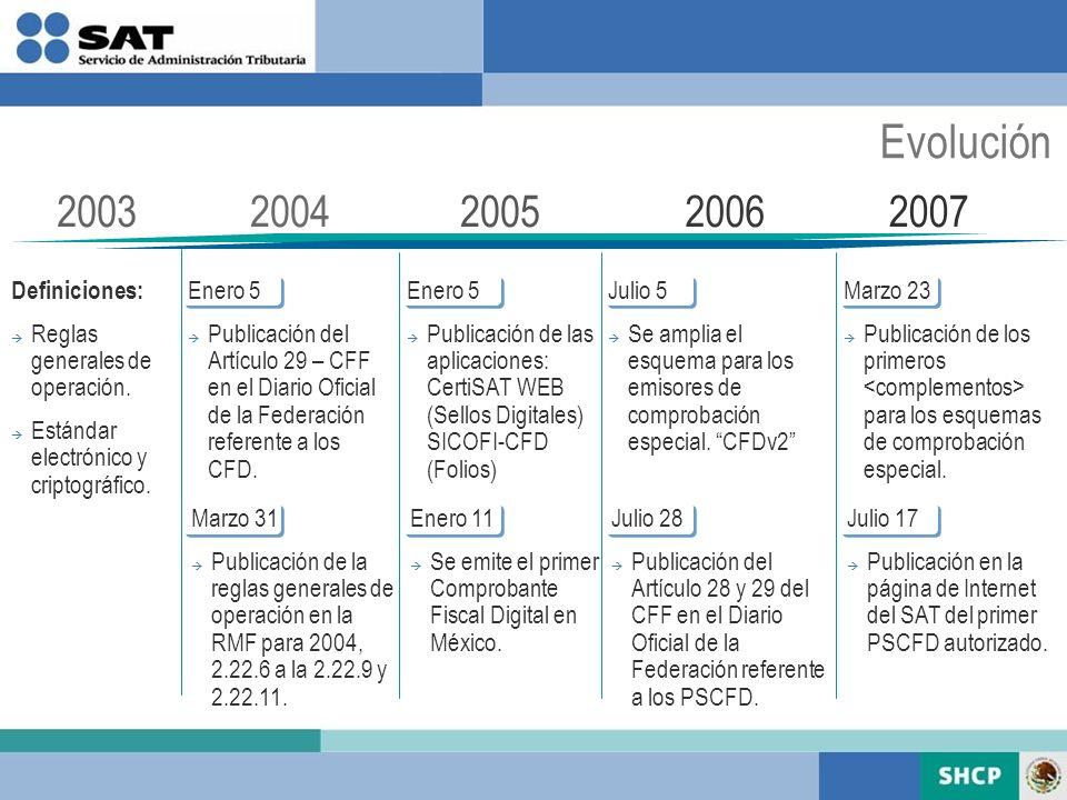 Evolución 2003 2004 2005 2006 2007 Definiciones: