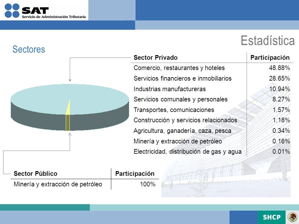 Estadística Sectores Sector Privado Participación