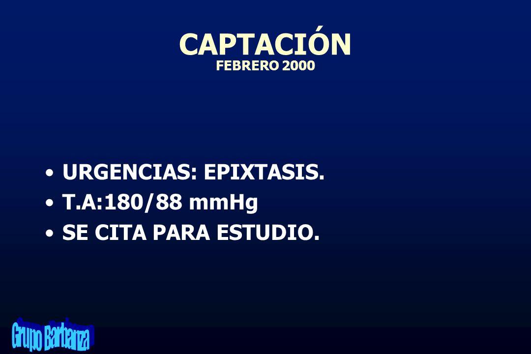 CAPTACIÓN FEBRERO 2000 URGENCIAS: EPIXTASIS. T.A:180/88 mmHg