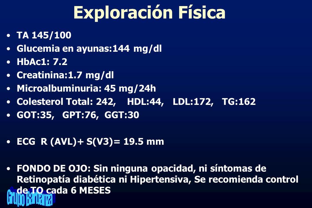 Exploración Física TA 145/100 Glucemia en ayunas:144 mg/dl HbAc1: 7.2