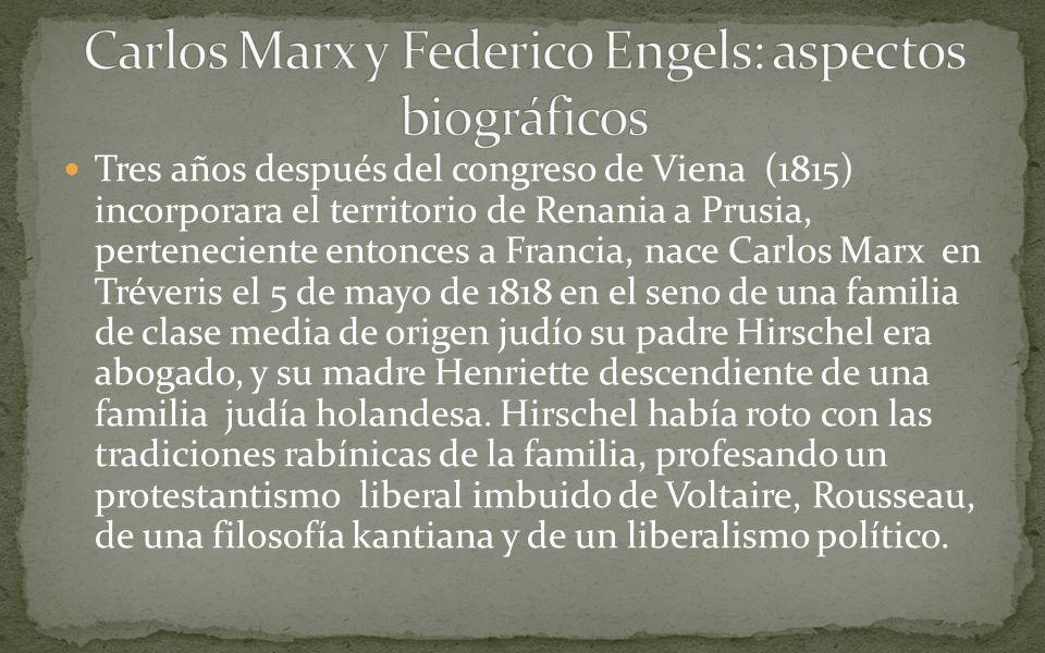 Carlos Marx y Federico Engels: aspectos biográficos