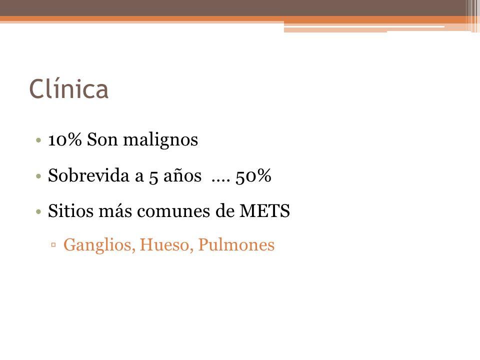 Clínica 10% Son malignos Sobrevida a 5 años …. 50%