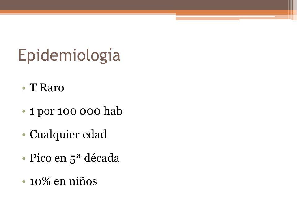 Epidemiología T Raro 1 por 100 000 hab Cualquier edad