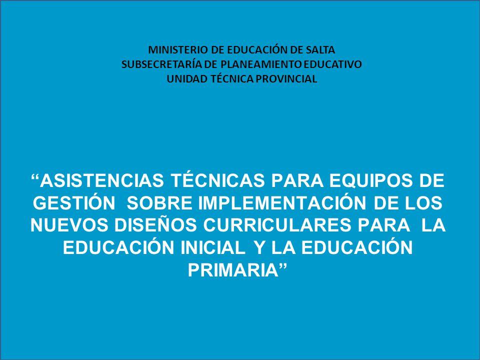 MINISTERIO DE EDUCACIÓN DE SALTA SUBSECRETARÍA DE PLANEAMIENTO EDUCATIVO UNIDAD TÉCNICA PROVINCIAL