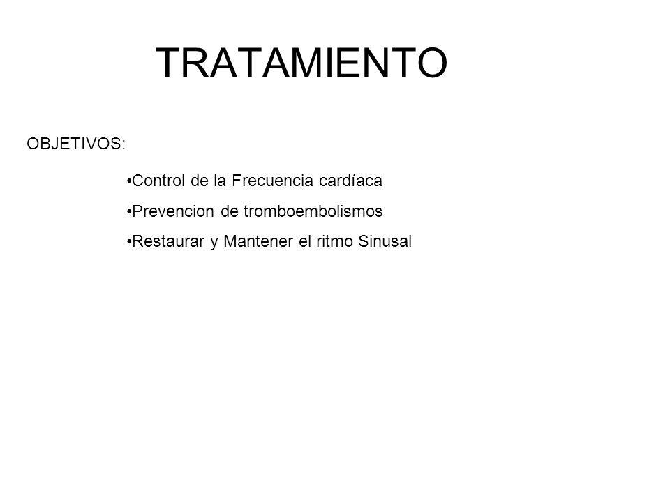 TRATAMIENTO OBJETIVOS: Control de la Frecuencia cardíaca