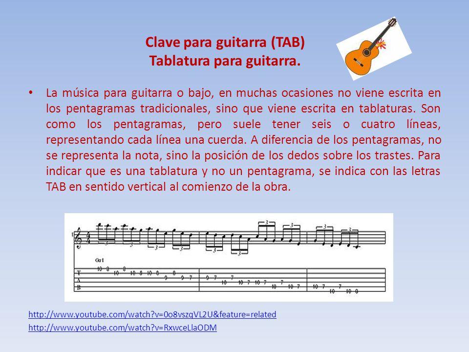 Clave para guitarra (TAB) Tablatura para guitarra.