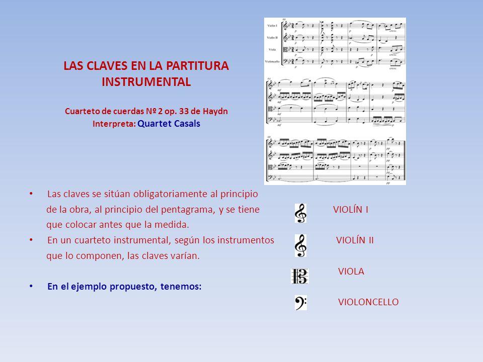 LAS CLAVES EN LA PARTITURA INSTRUMENTAL Cuarteto de cuerdas Nº 2 op