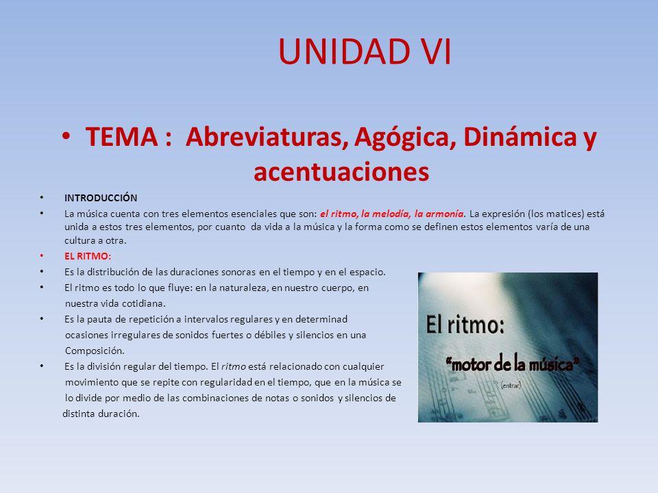 TEMA : Abreviaturas, Agógica, Dinámica y acentuaciones