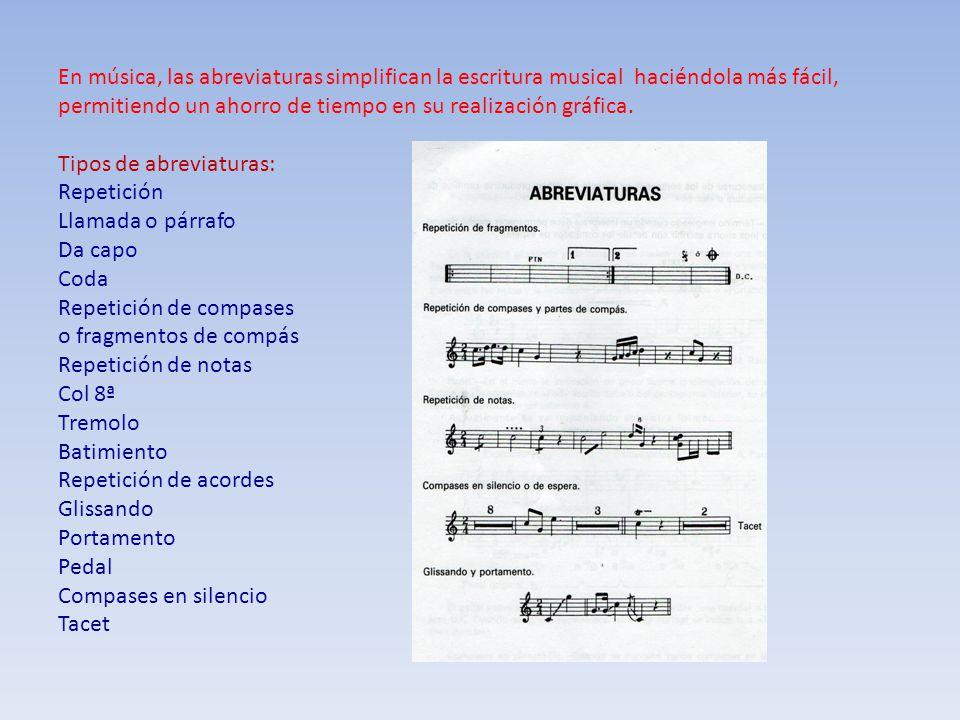 En música, las abreviaturas simplifican la escritura musical haciéndola más fácil, permitiendo un ahorro de tiempo en su realización gráfica.