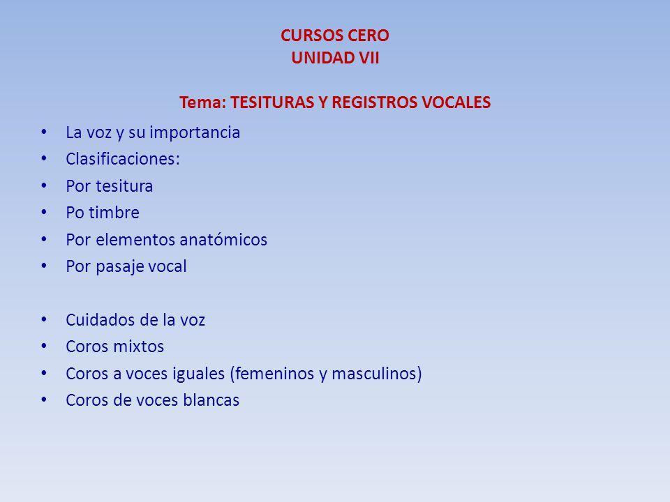 CURSOS CERO UNIDAD VII Tema: TESITURAS Y REGISTROS VOCALES