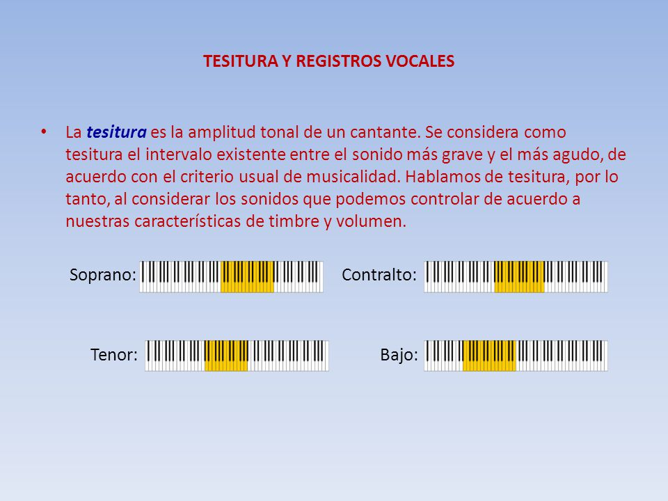TESITURA Y REGISTROS VOCALES